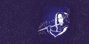 Zeigt die Muse Euterpe mit nächtlichem Hintergrund, wie sie immer zu sehen ist, wenn Bylle Leuchteblau Querflöte spielt.